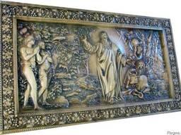 """Панно резное, картина из дерева """"Шестой день творения"""""""