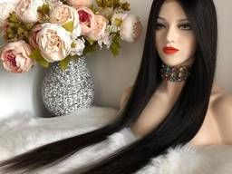 Парик из натуральных волос №96 — качественный парик как славянский волос длинный чёрный