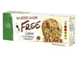 Печенье без добавленного сахара Bogutti Free с шоколадом и лесными орехами 135 грамм