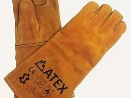 Перчатки для сварщика замшевые, краги сварщика спилковые жел