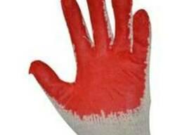Перчатки вампирка, защитные х/б/латекс красные