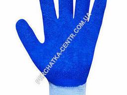 Перчатки хлопчатобумажные голубые с синим вспененным неполным латексным покрытием FLL. ..