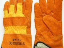 Перчатки из замшевой кожи с утеплением искусственной овчиной