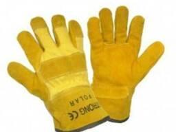 Перчатки комбинированные х/б спилок утепленные