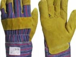 Перчатки комбинированные х/б желтый спилок х/б манжет