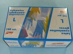 Перчатки медицинские Латексные (100шт) L (1 пач)