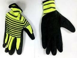 Перчатки нейлоновые с вспененным латексом Зебра(сал-чер)
