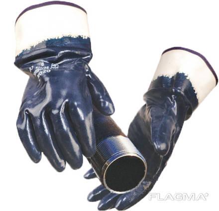Перчатки рабочие нитрил с двойным обливом и твердой манжетой