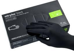 Перчатки нитриловые чёрного цвета , медицинские одноразовые nitrylex