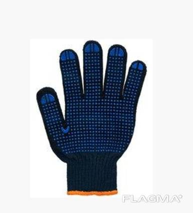 Перчатки рабочие 6 нитей c ПВХ-точкой черные Twist 70%хлопок