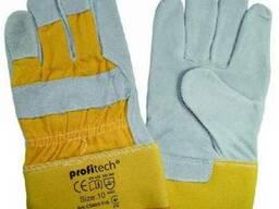 Перчатки рабочие комбинированные из спилка