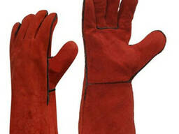 Перчатки рабочие, кожаные, с крагами