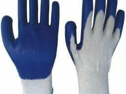 Перчатки рабочие с латексным, рифленым покрытием
