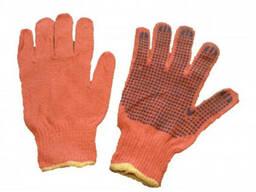 Перчатки рабочие с ПВХ точкой, 3 нити. опт