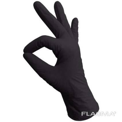 Перчатки разовые Нитриловые Чёрные 200 шт размер S