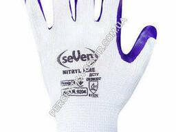 """Перчатки синтетические белые с фиолетовым нитриловым покрытием 69204 """"б"""""""