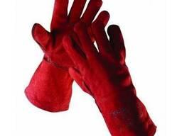 Перчатки спилковые красные для сварочных работ