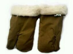 Перчатки трехпалые армейские на овчине хаки оригинал