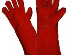 Перчатки сварщика спилковые красные