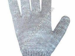 Перчатки трикотажные серые с ПВХ синего цвета