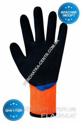 Перчатки утепленные синтетические оранжевые с двойным латексным сине-черным 3/4. ..