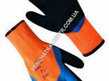 Перчатки утепленные синтетические оранжевые с двойным латексным сине-черным 3/4. .. - фото 2