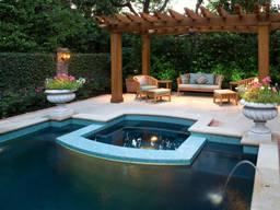 Пергола у бассейна из массива дерева, термодерева под ключ - фото 6