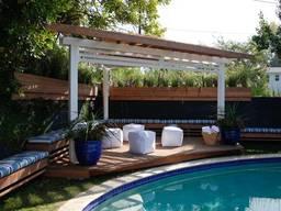 Пергола у бассейна из массива дерева, термодерева под ключ - фото 8