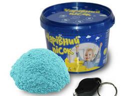 Песок Strateg светится в темноте, голубого цвета, ведро 0,5 кг, в наборе фонарик. ..
