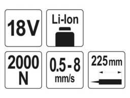 Пістолет для клеїв і герметиків акумуляторний YATO Li-Ion 18 В для тюбів 225 мм 0. 5-8. ..