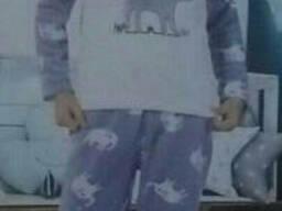 Пижама детская для девочек махрово-флисовая теплая, Турция