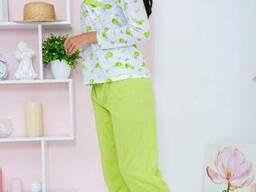 Пижама женская 129R7885 цвет Бело-салатовый