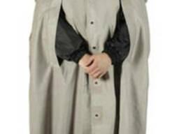 Плащ-накидка серый, на кнопках, прорезиненная ткань