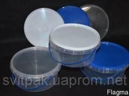 Пластиковое ведро пищевое 500 мл (круг. ) с ручкой и крышкой