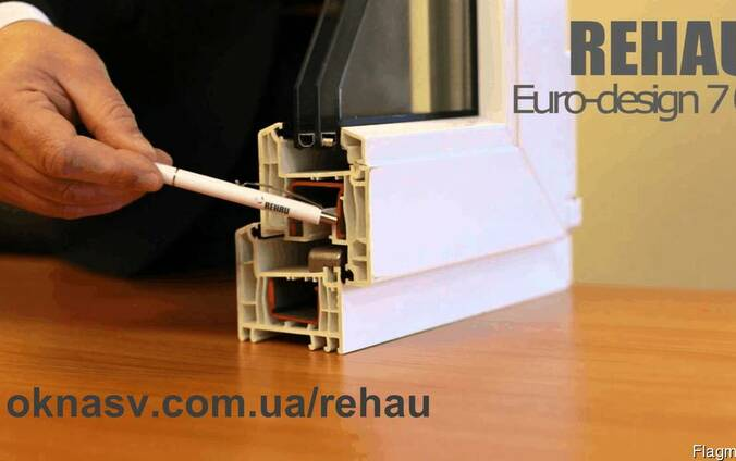 Пластиковые окна Rehau Ecosol 70. Стеклопакет двухкамерный.