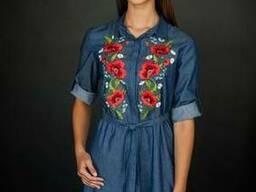 Платье-рубашка джинс, вышиванка, стильное платье