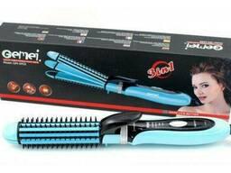 Многофункциональная плойка утюжок для волос 3в1 Gemei GM 2922 голубой