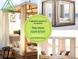 Пляжная садовая кровать беседка бунгало деревянная(ясень) под заказ