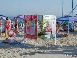 Пляжные кабинки, зонтики из металла; сварочные работы