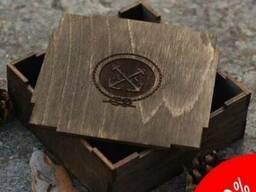 Подарочная деревянная коробочка под заказ ( лого, размер)