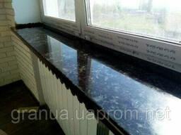 Подоконники и отливы из лабрадорита черные 100х30х3 см