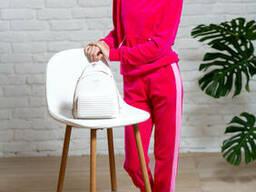 Подростковый спортивный костюм из велюра для девочки розового цвета 38