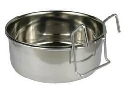 Подвесная кормушка или поилка металлическая на крючках 900мл 14,5 см