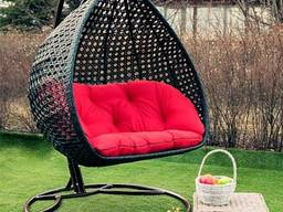 Подвесное кресло кокон Дабл Премиум Металлическик Качели садовые из искусственного ротанга