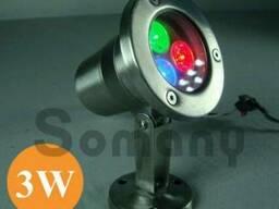 Подводный прожектор светодиодный RGB IP68 3W 220V