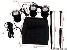 Подводный прожектор RGB трио на солнечной батарее 6 Ledx3 шт