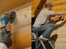 Покраска деревянных домов. Сруб. Баня