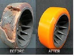 Покрытие колес штабелеров, роликов и валов полиуретаном