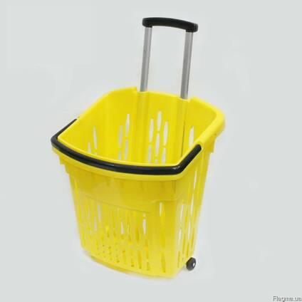 Покупательские корзины для супермаркета с колесами PLAST 38