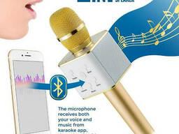 Портативный микрофон караоке беспроводной Bluetooth Q7 Gold